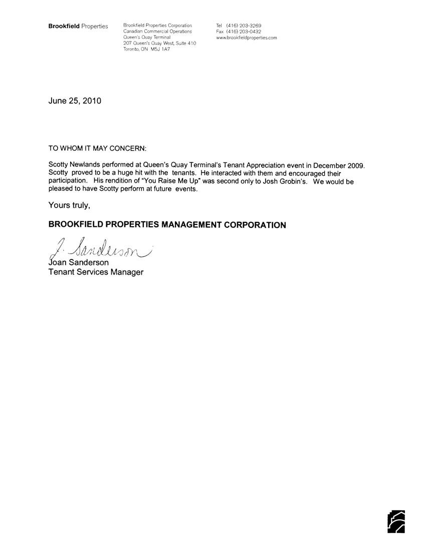 joan sanderson brookfield properties tenant services manager read joan sandersons letter